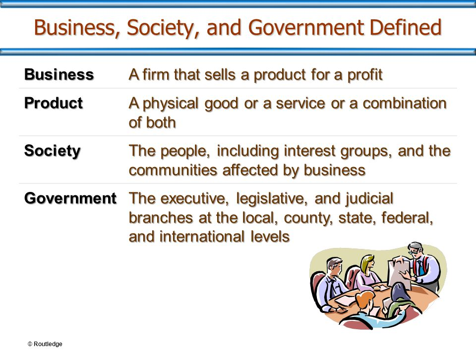 Business, Society, and Government Defined Business A firm that sells a product for a profit Product A physical good or a service or a combination of b