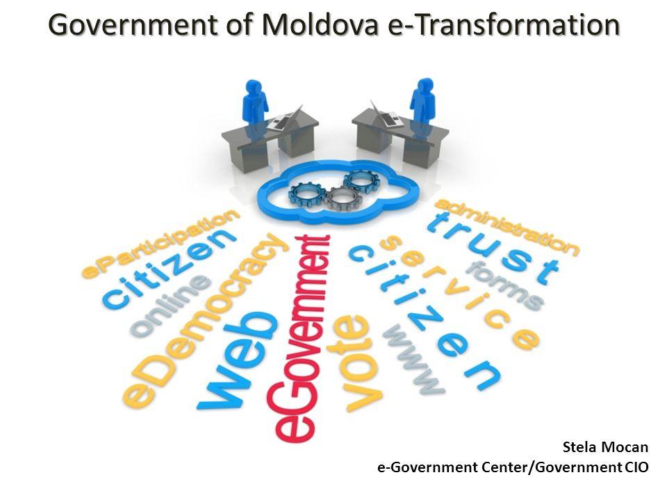 MOLDOVA Population: Territory: GDP/capita: Mobile penetration: Internet penetration: ICT contribution: Government structure: 3,559,500 33,846 km² 3,415 USD 114% > 50% 8-10% GDP 16 ministries 7 agencies 12,000 public servants Russia Ukraine Turkey Romania Poland Austria Finland