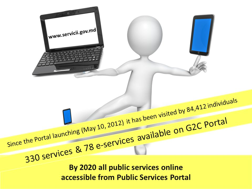 www.servicii.gov.md By 2020 all public services online accessible from Public Services Portal 330 services & 78 e-services available on G2C Portal Since the Portal launching (May 10, 2012) it has been visited by 84,412 individuals