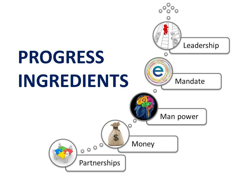 PartnershipsMoneyMan powerMandateLeadership PROGRESS INGREDIENTS