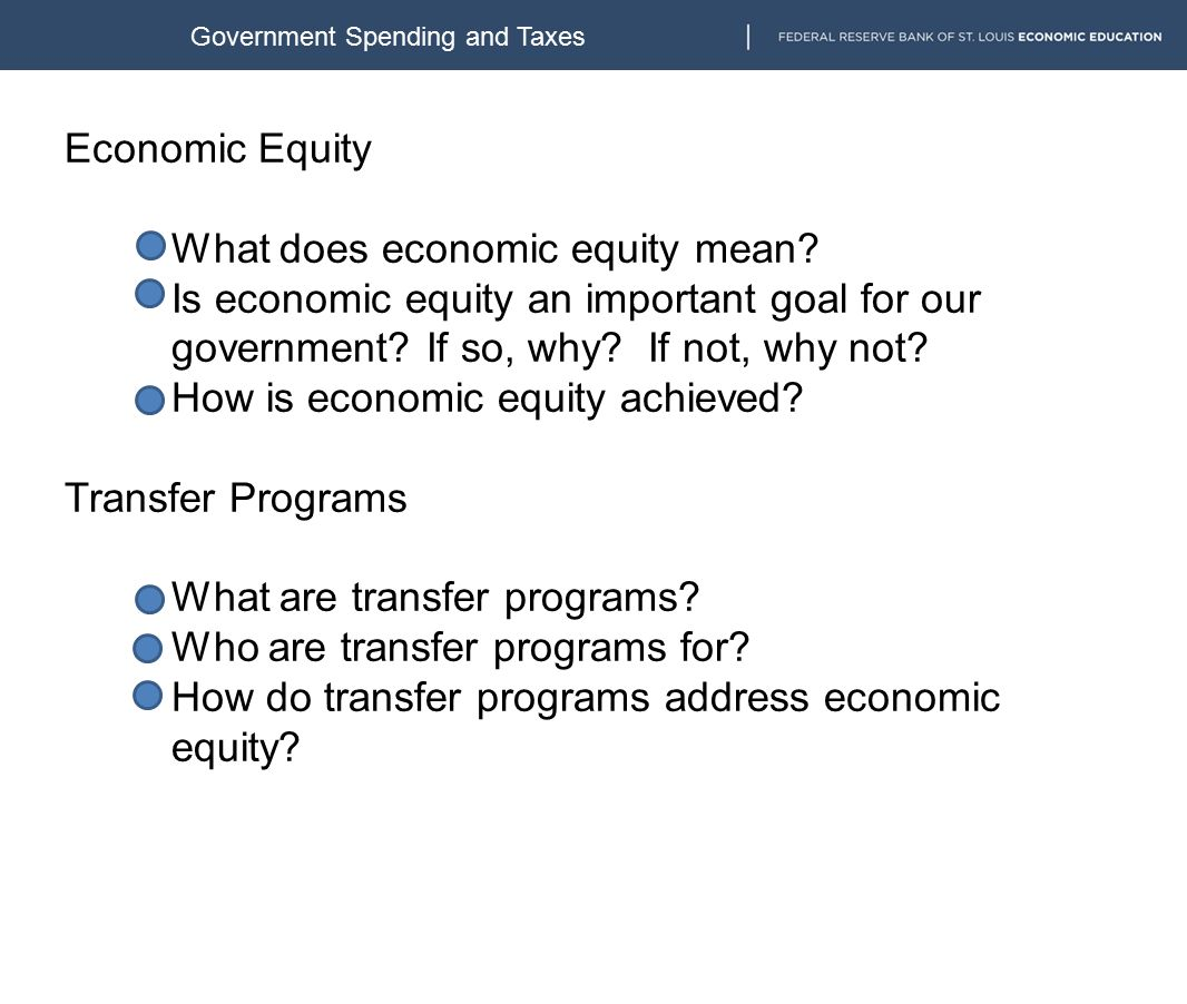 Economic Equity What does economic equity mean.
