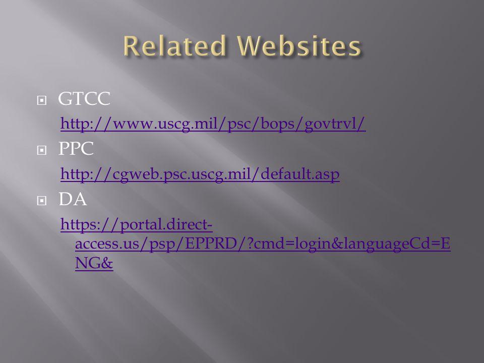  GTCC http://www.uscg.mil/psc/bops/govtrvl/  PPC http://cgweb.psc.uscg.mil/default.asp  DA https://portal.direct- access.us/psp/EPPRD/?cmd=login&languageCd=E NG&