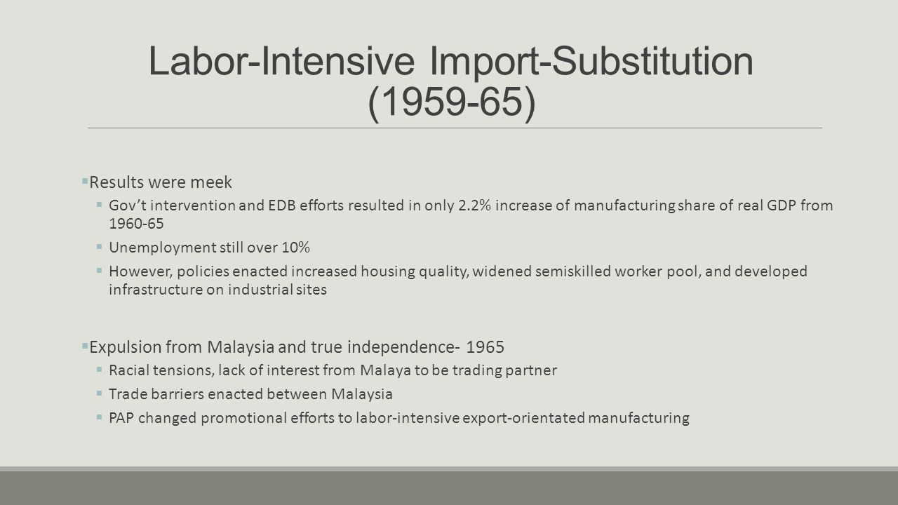 Investment Abroad and a Globalized Singapore (1990 onwards)  Indonesia-Malaysia-Singapore Growth Triangle (IMS-GT) created in 1990  Pooled Singaporean capital, management, and tech levels with the cheap land and labor of Indonesia and Malaysia  Linked countries' comparative advantages to jointly attract MNCs  Attracted quality investors, including Toshiba and Phillips