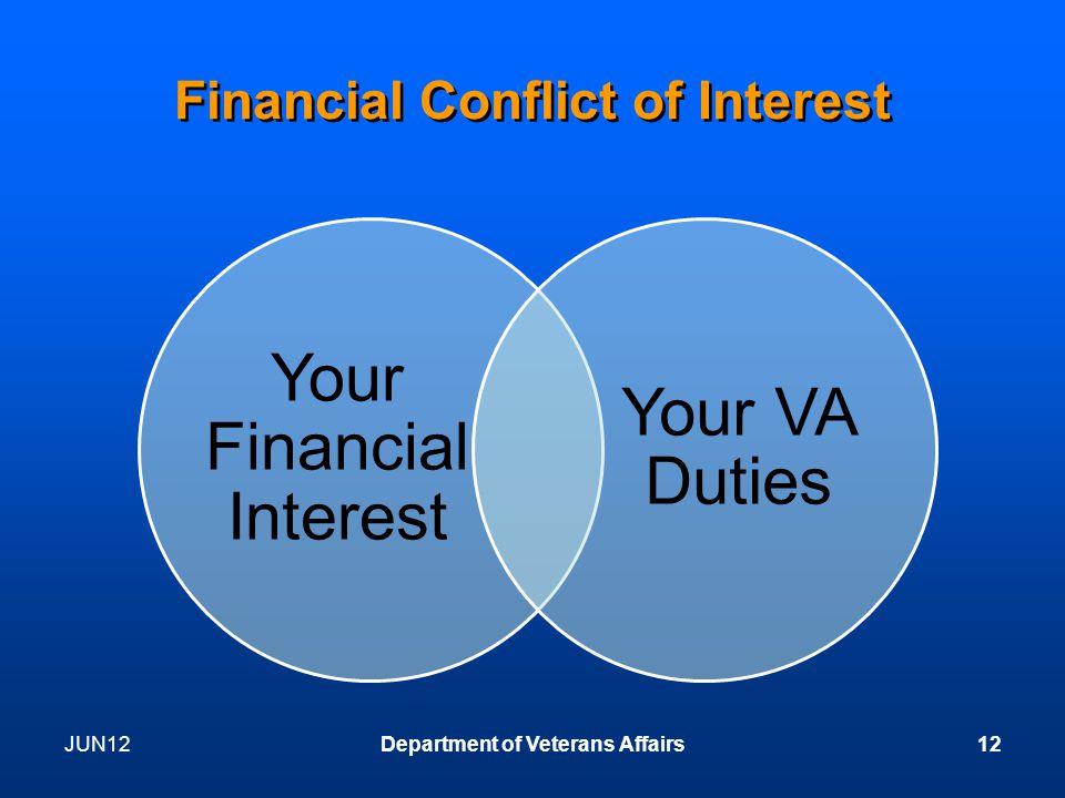 Financial Conflict of Interest Your Financial Interest Your VA Duties JUN12Department of Veterans Affairs12