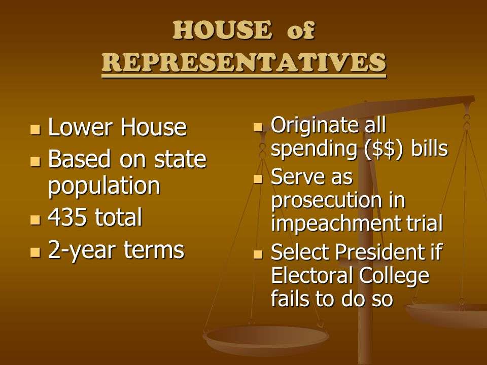 HOUSE of REPRESENTATIVES Lower House Lower House Based on state population Based on state population 435 total 435 total 2-year terms 2-year terms Ori
