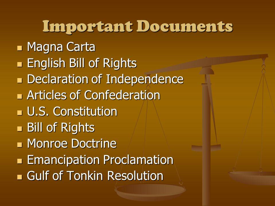 Important Documents Magna Carta Magna Carta English Bill of Rights English Bill of Rights Declaration of Independence Declaration of Independence Arti