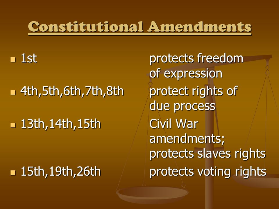 Constitutional Amendments 1st protects freedom of expression 1st protects freedom of expression 4th,5th,6th,7th,8th protect rights of due process 4th,