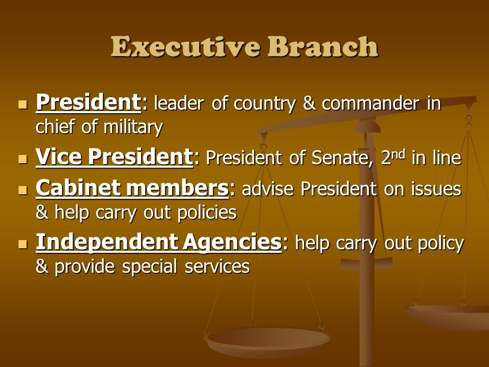 Executive Branch President: leader of country & commander in chief of military President: leader of country & commander in chief of military Vice President: President of Senate, 2 nd in line Vice President: President of Senate, 2 nd in line Cabinet members: advise President on issues & help carry out policies Cabinet members: advise President on issues & help carry out policies Independent Agencies: help carry out policy & provide special services Independent Agencies: help carry out policy & provide special services