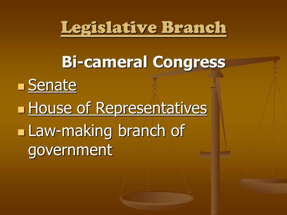 Legislative Branch Bi-cameral Congress Senate Senate House of Representatives House of Representatives Law-making branch of government Law-making bran