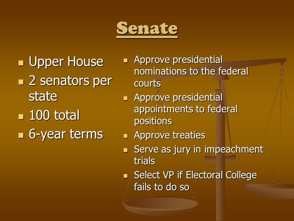 Senate Upper House Upper House 2 senators per state 2 senators per state 100 total 100 total 6-year terms 6-year terms Approve presidential nomination