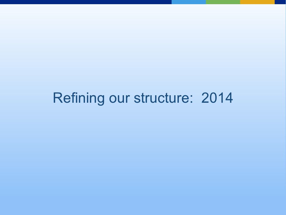 Refining our structure: 2014