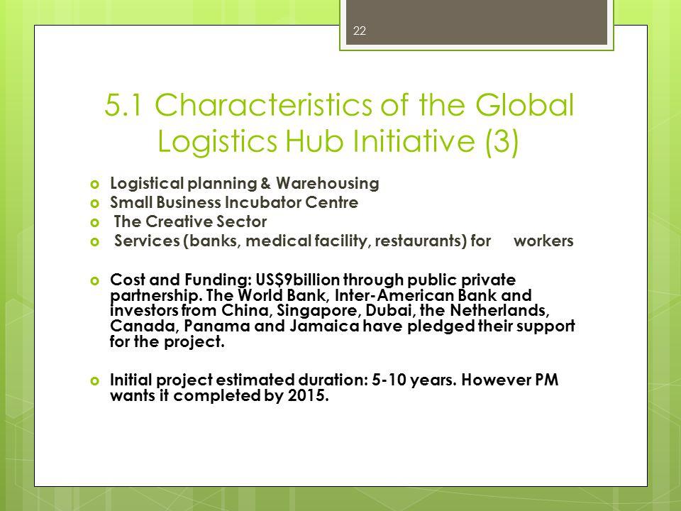 5.1 Characteristics of the Global Logistics Hub Initiative (3)  Logistical planning & Warehousing  Small Business Incubator Centre  The Creative Se