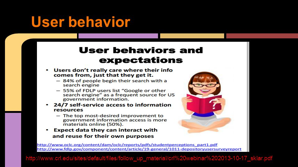 User behavior http://www.crl.edu/sites/default/files/follow_up_material/crl%20webinar%202013-10-17_sklar.pdf