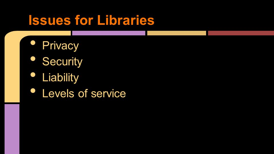 Privacy Security Liability Levels of service Issues for Libraries