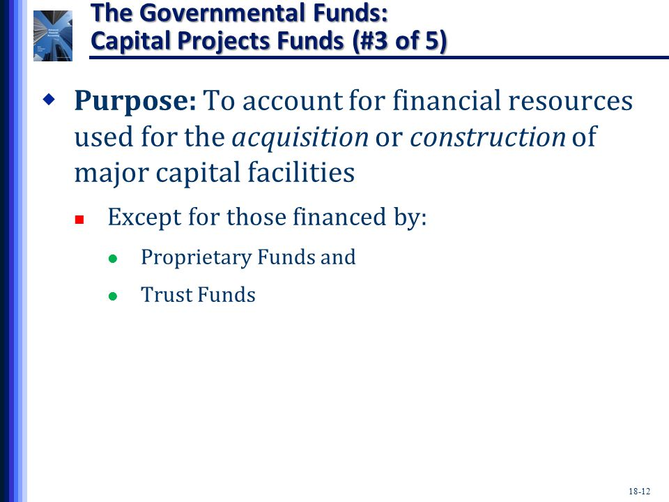 18-12 The Governmental Funds: Capital Projects Funds (#3 of 5)  Purpose: To account for financial resources used for the acquisition or construction of major capital facilities Except for those financed by: Proprietary Funds and Trust Funds