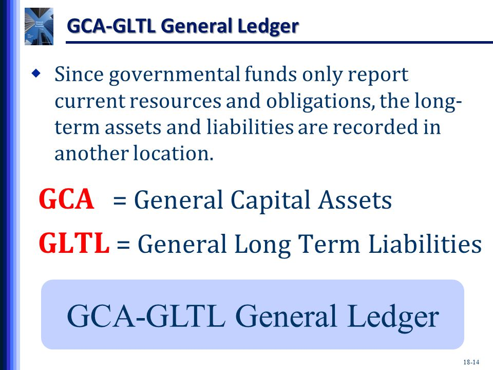 18-14 GCA-GLTL General Ledger GCA = General Capital Assets GLTL = General Long Term Liabilities GCA-GLTL General Ledger  Since governmental funds only report current resources and obligations, the long- term assets and liabilities are recorded in another location.