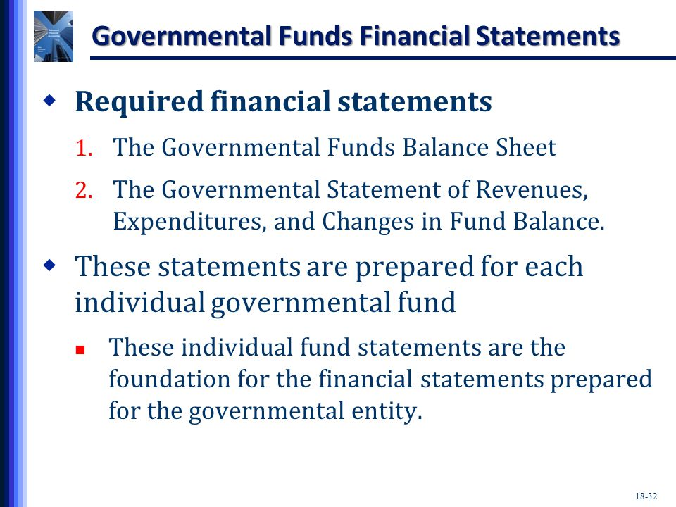 18-32 Governmental Funds Financial Statements  Required financial statements 1.
