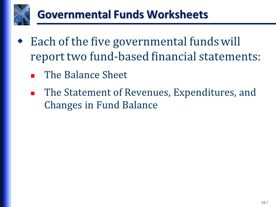 18-7 Governmental Funds Worksheets  Each of the five governmental funds will report two fund-based financial statements: The Balance Sheet The Statement of Revenues, Expenditures, and Changes in Fund Balance