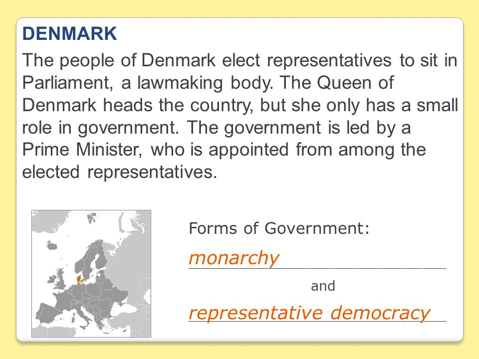 DENMARK The people of Denmark elect representatives to sit in Parliament, a lawmaking body.