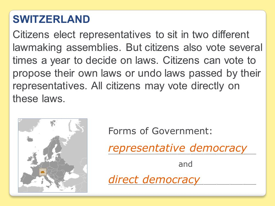 SWITZERLAND Citizens elect representatives to sit in two different lawmaking assemblies.