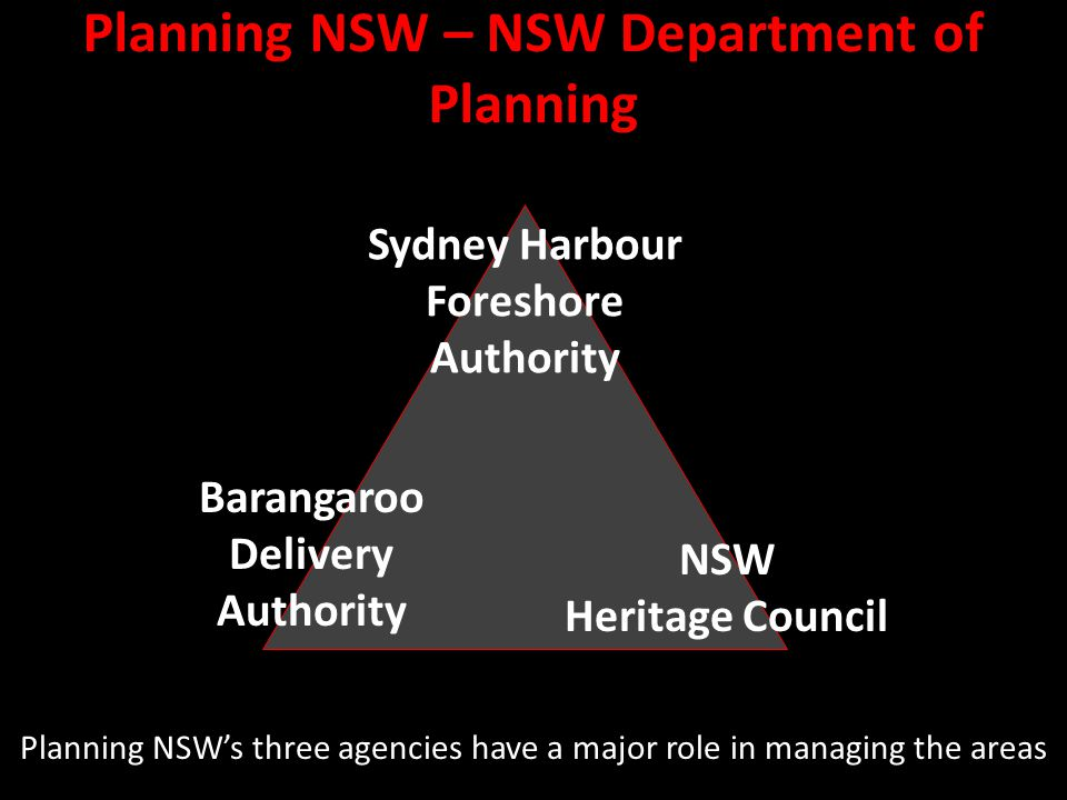 Planning NSW – NSW Department of Planning Planning NSW's three agencies have a major role in managing the areas NSW Heritage Council Sydney Harbour Foreshore Authority Barangaroo Delivery Authority