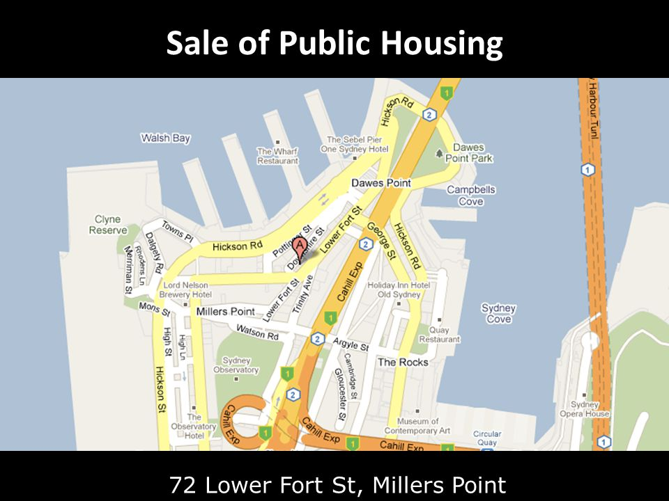 Sale of Public Housing 72 Lower Fort St, Millers Point