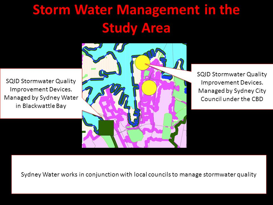 Storm Water Management in the Study Area Sydney Water works in conjunction with local councils to manage stormwater quality SQID Stormwater Quality Improvement Devices.