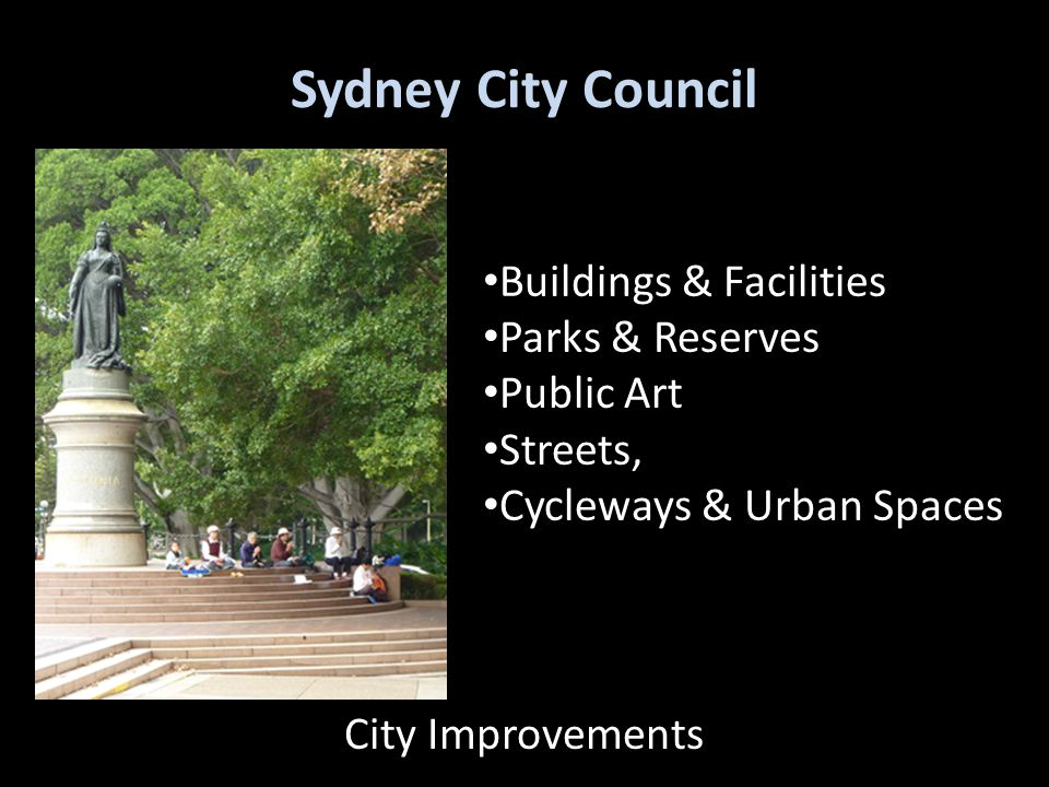 Sydney City Council Buildings & Facilities Parks & Reserves Public Art Streets, Cycleways & Urban Spaces City Improvements