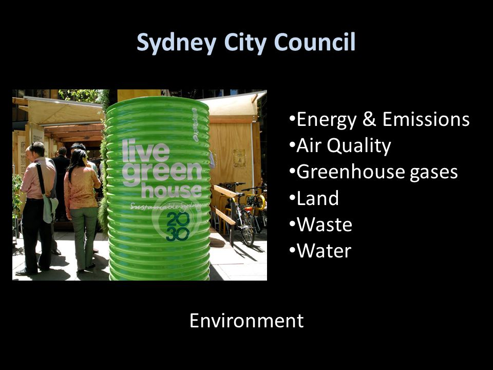 Sydney City Council Energy & Emissions Air Quality Greenhouse gases Land Waste Water Environment