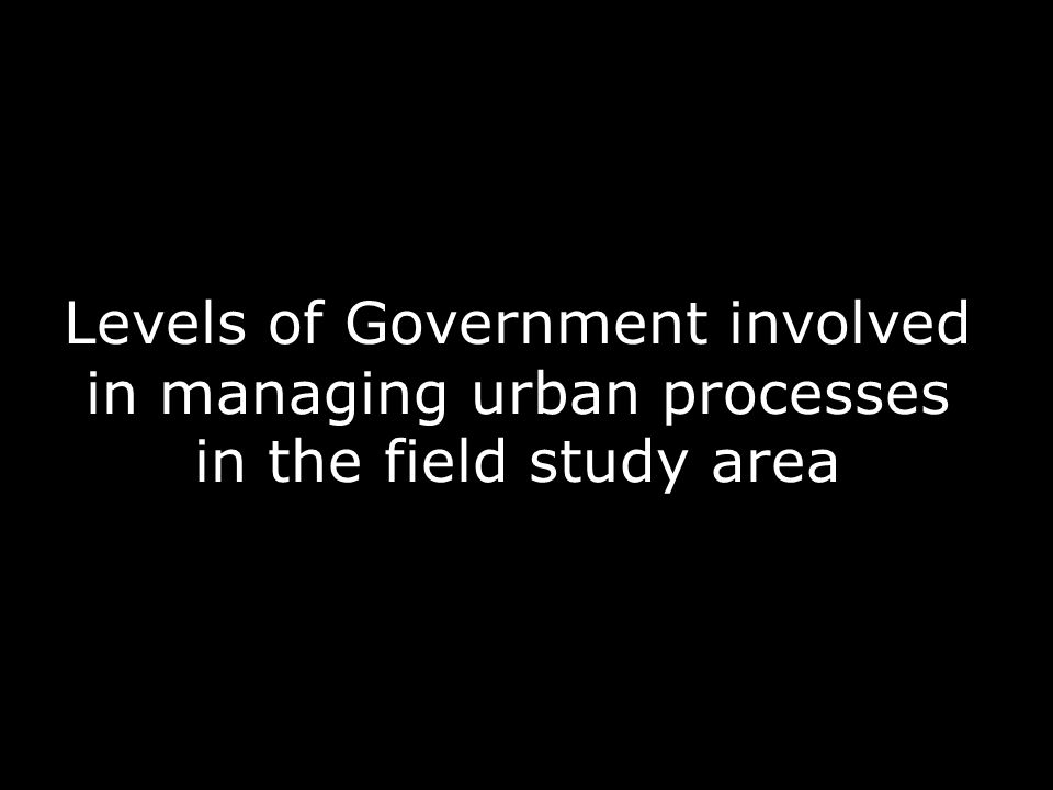Levels of Government involved in managing urban processes in the field study area