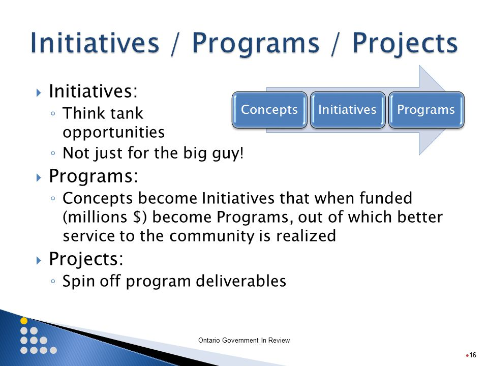 Ontario Government In Review  Initiatives: ◦ Think tank opportunities ◦ Not just for the big guy.