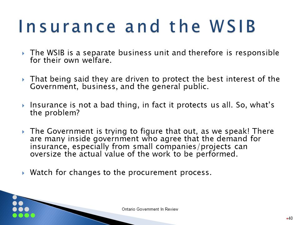 Ontario Government In Review  The WSIB is a separate business unit and therefore is responsible for their own welfare.