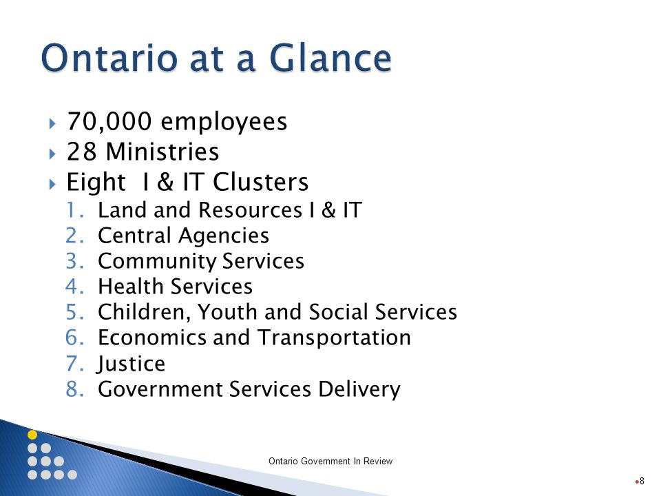 Ontario Government In Review  70,000 employees  28 Ministries  Eight I & IT Clusters 1.Land and Resources I & IT 2.Central Agencies 3.Community Services 4.Health Services 5.Children, Youth and Social Services 6.Economics and Transportation 7.Justice 8.Government Services Delivery 8