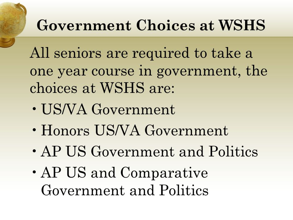 AP US Government Overview The goals of AP US Government are for students to: Know important facts pertaining to the government and politics of the United States Understand major political concepts, themes, and generalizations Understand typical patterns of political processes and behavior and their consequences Be able to compare and contrast political institutions and processes and to derive generalizations from them Be able to analyze and interpret basic data relevant to government and politics