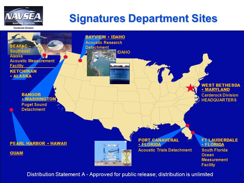 Signatures Department Sites WEST BETHESDA MARYLAND Carderock Division HEADQUARTERS PORT CANAVERAL FLORIDA Acoustic Trials Detachment FT LAUDERDALE FLO