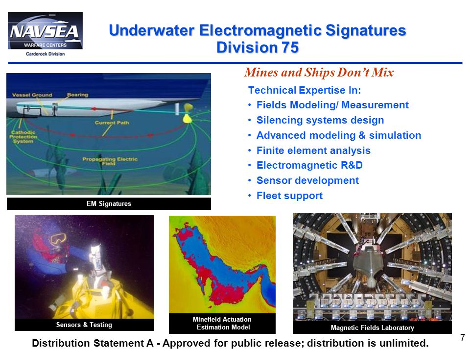 7 Technical Expertise In: Fields Modeling/ Measurement Silencing systems design Advanced modeling & simulation Finite element analysis Electromagnetic R&D Sensor development Fleet support Underwater Electromagnetic Signatures Division 75 Mines and Ships Don't Mix Minefield Actuation Estimation Model Magnetic Fields Laboratory Sensors & Testing EM Signatures Distribution Statement A - Approved for public release; distribution is unlimited.