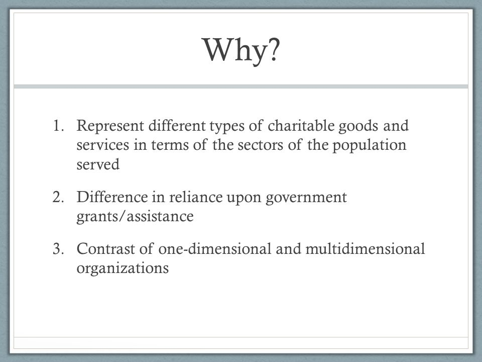 Why? 1.Represent different types of charitable goods and services in terms of the sectors of the population served 2.Difference in reliance upon gover