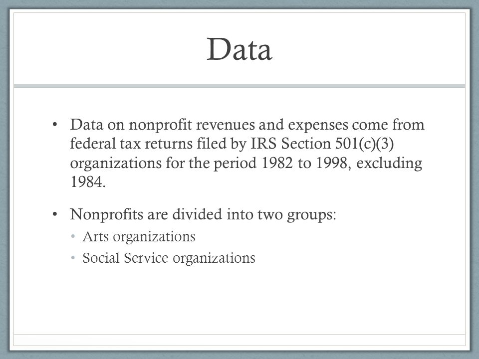 Data Data on nonprofit revenues and expenses come from federal tax returns filed by IRS Section 501(c)(3) organizations for the period 1982 to 1998, e