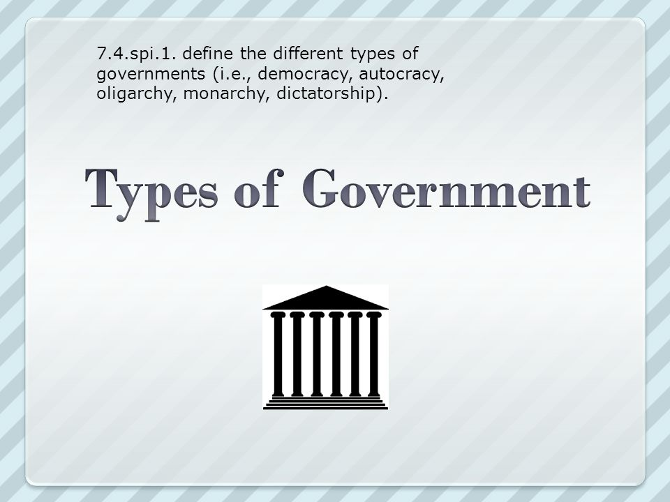 Monarchy Two Kinds Autocracy – Rule by one Totalitarian Dictatorship Monarchy (king or queen) Absolute Monarchy (complete and unlimited power) Constitutional Monarchy (shares power with elected parliament and prime minister) Theocracy