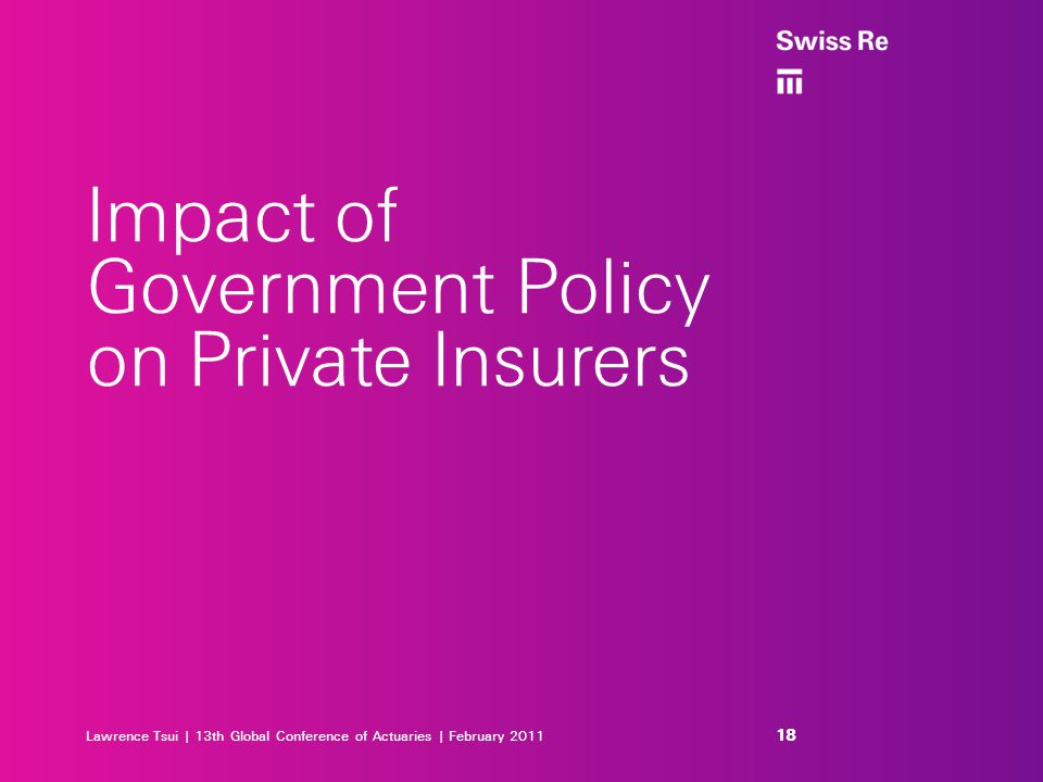 Lawrence Tsui | 13th Global Conference of Actuaries | February 2011 Impact of Government Policy on Private Insurers 18