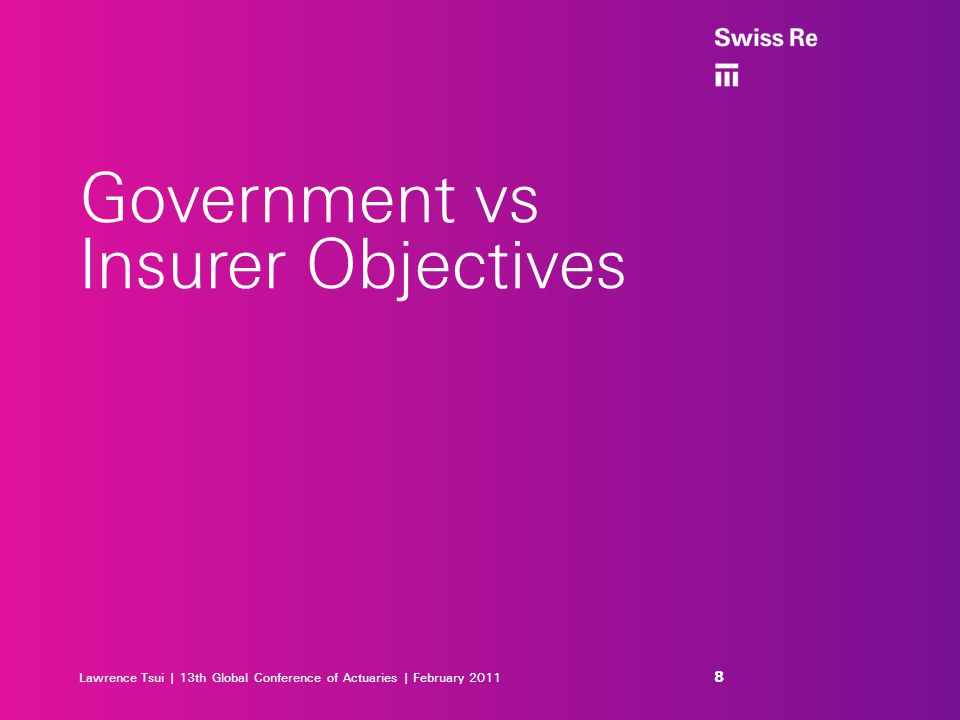 Lawrence Tsui | 13th Global Conference of Actuaries | February 2011 Government vs Insurer Objectives 8 8