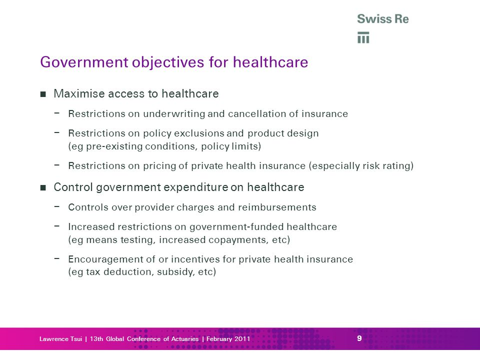 Lawrence Tsui | 13th Global Conference of Actuaries | February 2011 Maximise access to healthcare – Restrictions on underwriting and cancellation of i