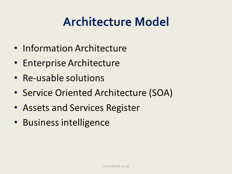 Architecture Model Information Architecture Enterprise Architecture Re-usable solutions Service Oriented Architecture (SOA) Assets and Services Regist