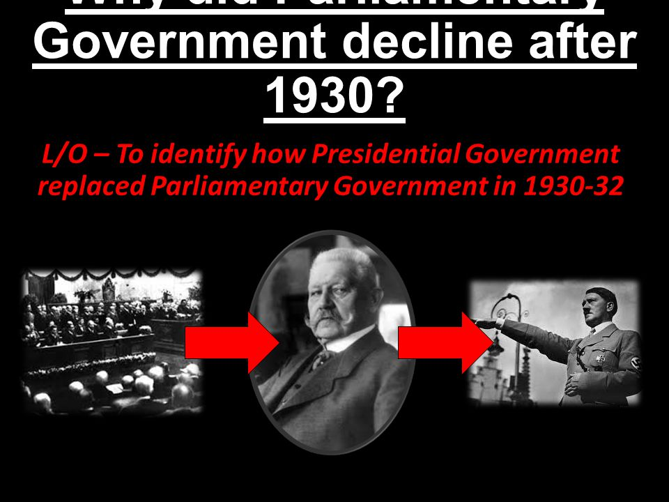 Why did Parliamentary Government decline after 1930? L/O – To identify how Presidential Government replaced Parliamentary Government in 1930-32