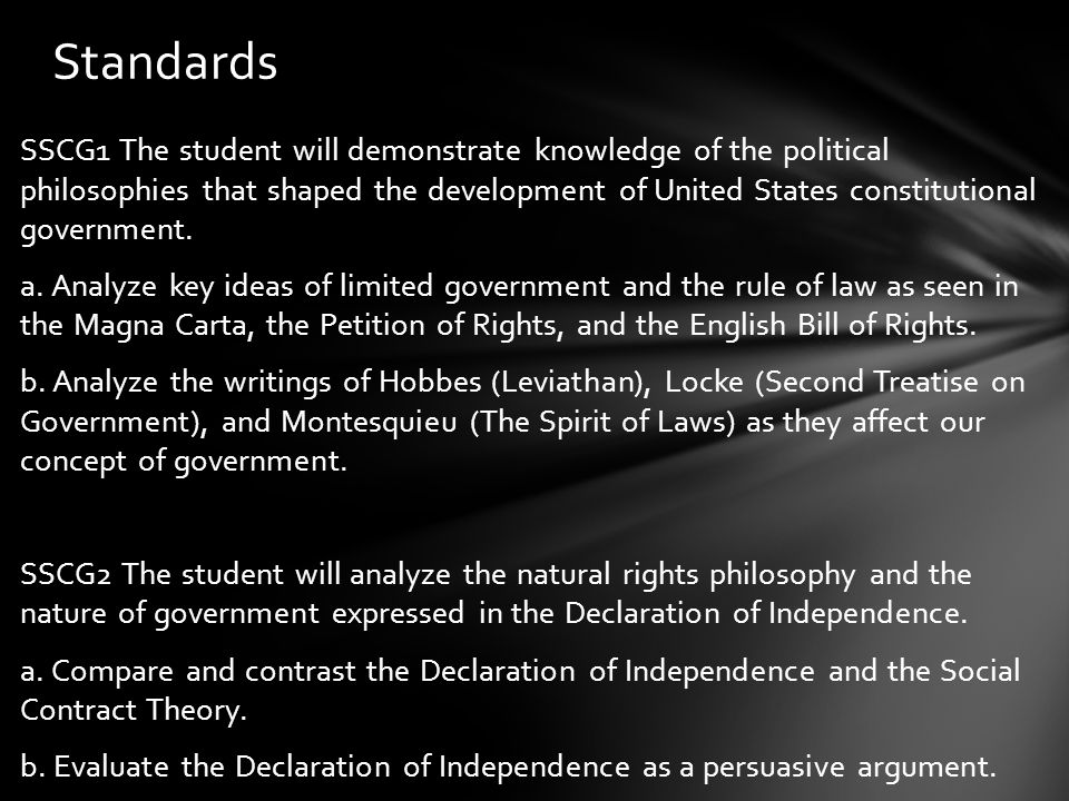 SSCG1 The student will demonstrate knowledge of the political philosophies that shaped the development of United States constitutional government. a.