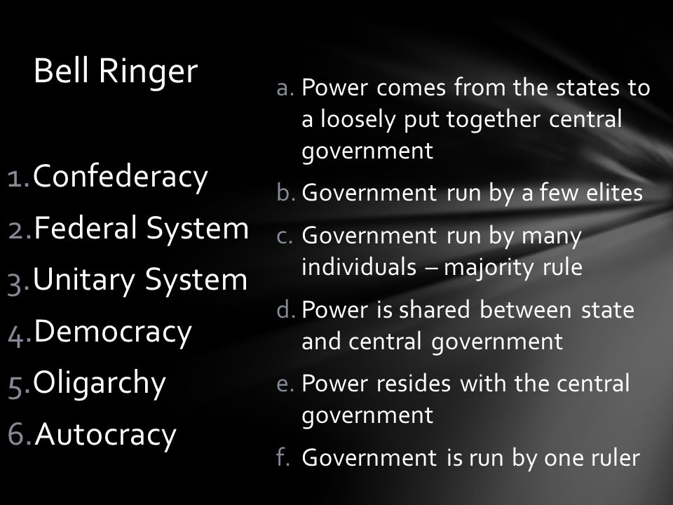 a.Power comes from the states to a loosely put together central government b.Government run by a few elites c.Government run by many individuals – maj