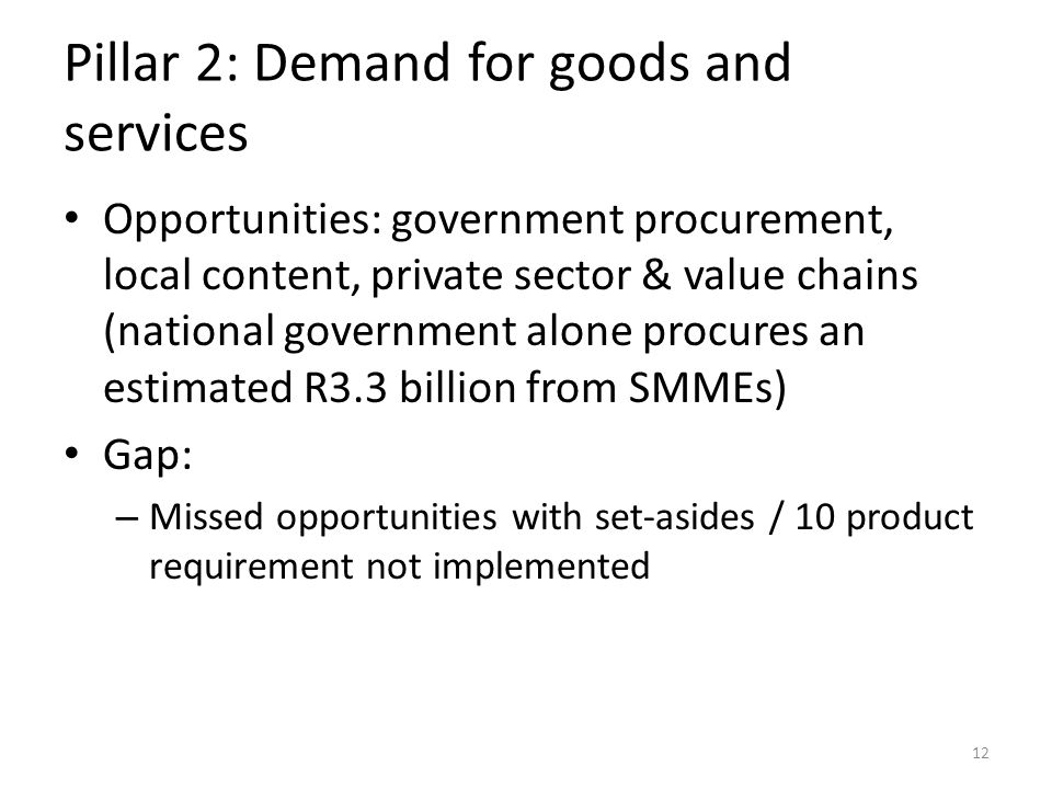 Pillar 2: Demand for goods and services Opportunities: government procurement, local content, private sector & value chains (national government alone procures an estimated R3.3 billion from SMMEs) Gap: – Missed opportunities with set-asides / 10 product requirement not implemented 12