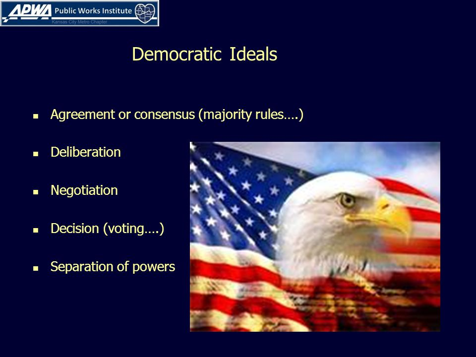 Democratic Ideals Agreement or consensus (majority rules….) Deliberation Negotiation Decision (voting….) Separation of powers