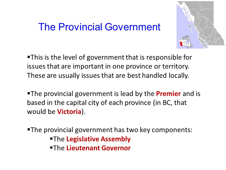 The Provincial Government  This is the level of government that is responsible for issues that are important in one province or territory.