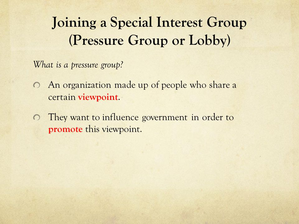 Joining a Special Interest Group (Pressure Group or Lobby) What is a pressure group? An organization made up of people who share a certain viewpoint.